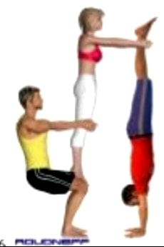 Three People Yoga Poses Friends Challenge Partner